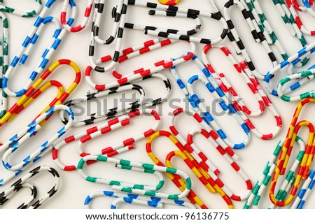 paperclips on a white background - stock photo