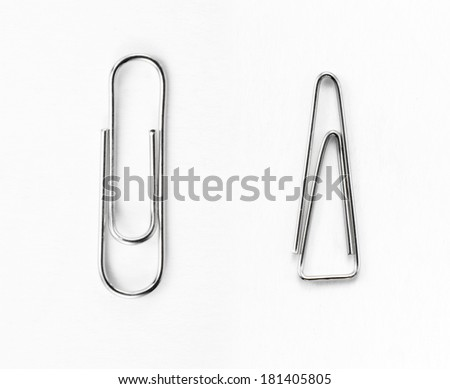Paperclips on white background - stock photo