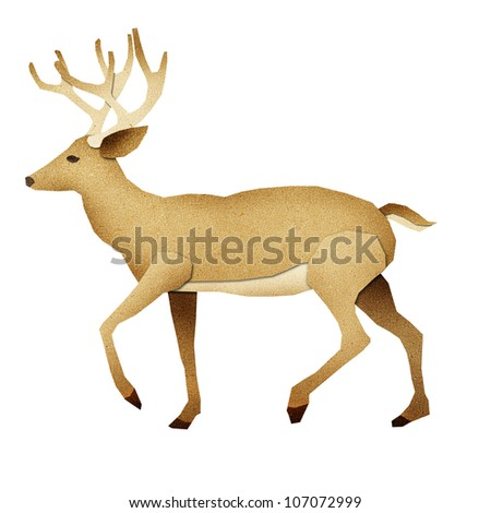 Papercut Deer made from Recycled Paper - stock photo