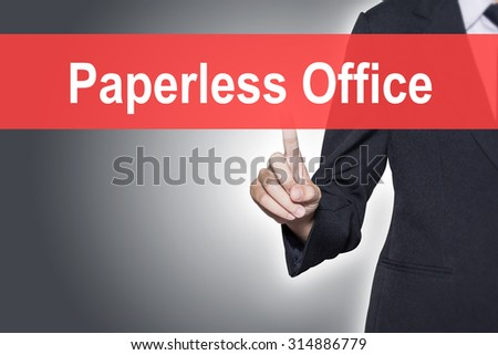 Paperless Office Business woman pressing hand word on virtual screen - stock photo