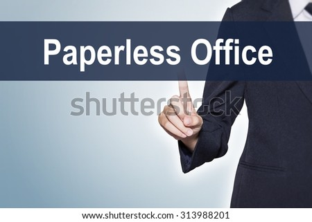 Paperless Office Business woman pushing hand on virtual screen for e-commerce background - stock photo