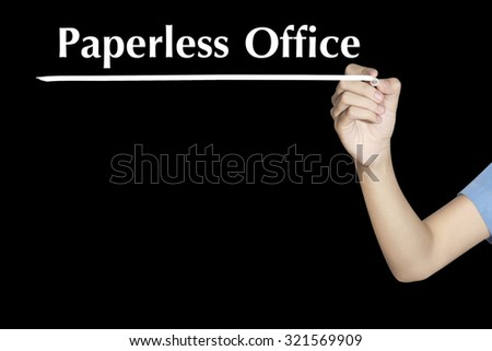 Paperless Office Woman writing word with black screen - stock photo