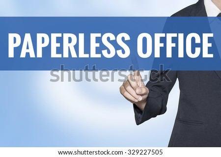 Paperless Office word on virtual screen touch by business woman blue background - stock photo