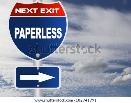 Paperless road sign - stock photo