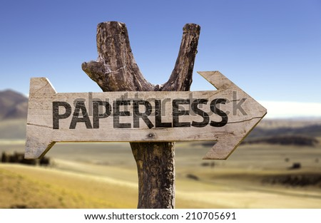 Paperless wooden sign with a deforestation on background  - stock photo