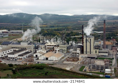 papermill and paper recycling factory in Sanguesa, Spain - stock photo