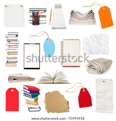 papers label  pages newspapers and books collection isolated on white - stock photo