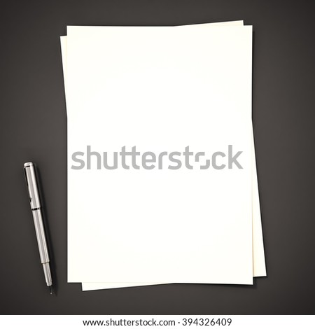 Papers with pen on black background, 3d rendered - stock photo