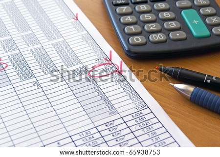 Paperwork and price calculation or quotation in office, background