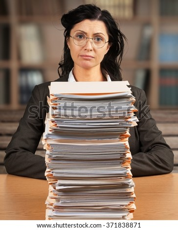 Paperwork emotional stress. - stock photo