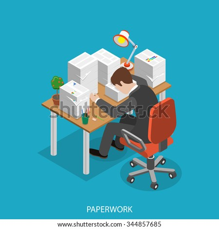 Paperwork isometric flat concept. Office worker is very tired  sitting at the table with his head is lain on the paper pile. - stock photo