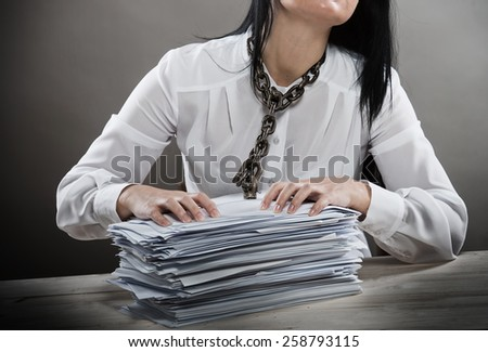 Paperwork prisoner concept - stock photo