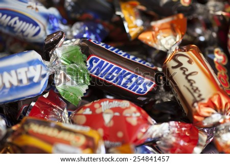 Paphos Cyprus December 19 2013 Snickers Stock Photo 254841457