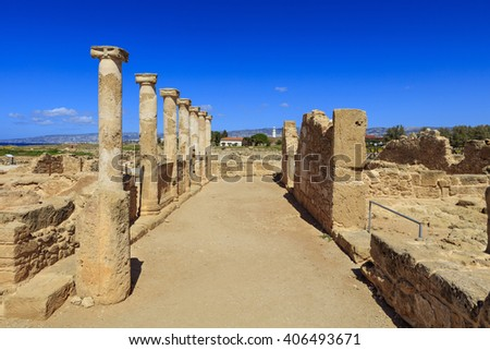 PAPHOS, CYPRUS - MARCH 11, 2016: Ruins at the Archaeological Helenistic and Roman site at Kato Paphos in Cyprus. - stock photo