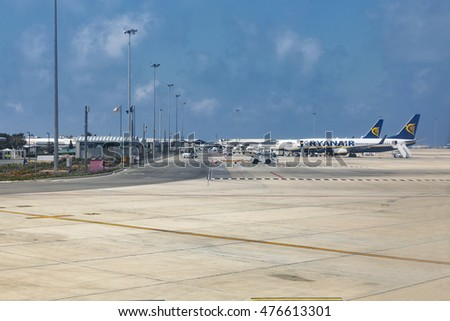 PAPHOS, CYPRUS - MAY 30, 2016: Ryanair Irish airplanes served in Paphos International Airport. It is the country's second largest airport, commonly used by tourists on vacation in western Cyprus.