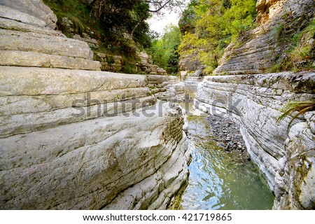 Papingo, famous natural pools, Pindos, Greece