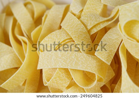 Pappardelle Pasta Background, Closeup, Studio Shot - stock photo