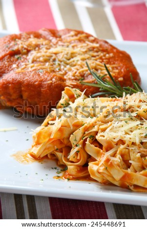 Pappardelle Pasta with Tomato Sauce and Meat