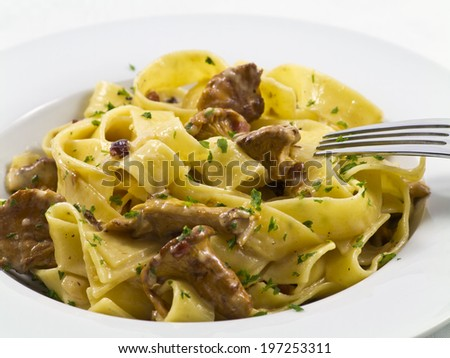 pappardelle with chanterelles - stock photo