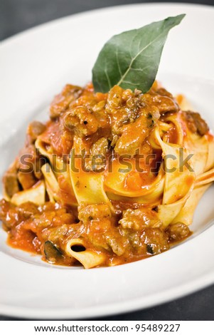 Pappardelle with wild boar made with italian style