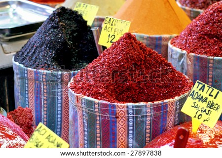 Paprika bags on spice bazaar - stock photo