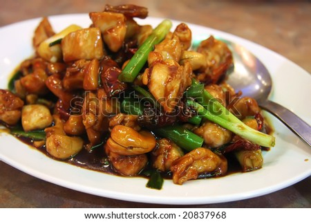 Paprika chicken with peppers traditional chinese cuisine - stock photo