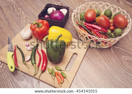 Paprika, chili and other cooking ingredients - stock photo