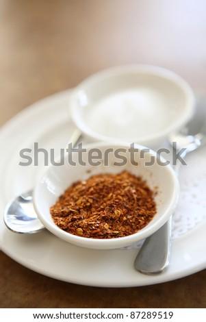 Paprika on wood background - stock photo