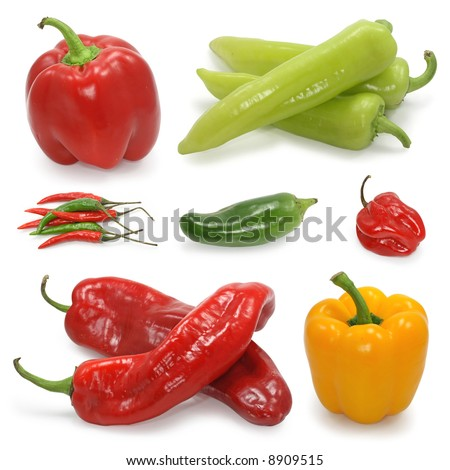 paprika pepper collection on white - stock photo