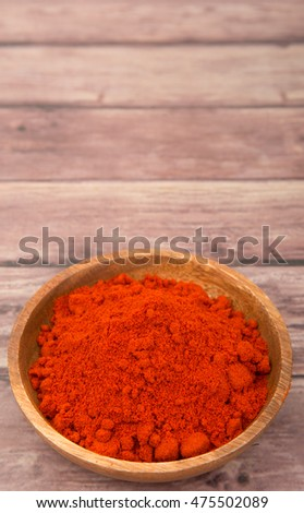 Paprika powder in wooden bowl over wooden background