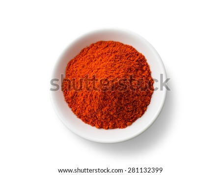 Paprika powder isolated on white background  - stock photo