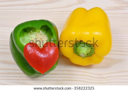 Paprika red heart. colorful pepper. Paprika cut into a heart -shape. - stock photo