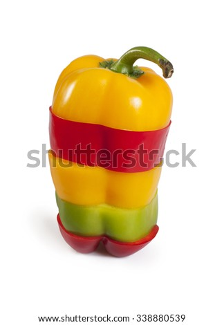 Paprika sliced isolated on white - red, yellow and green paprika mix