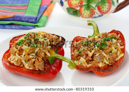 Paprika stuffed with rice and meat