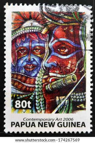 PAPUA NEW GUINEA - CIRCA 2006: Stamp printed in Papua dedicated to contemporary art, circa 2006 - stock photo