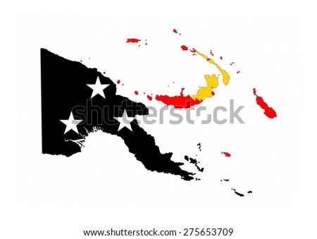 papua new guinea country flag map shape national symbol - stock photo