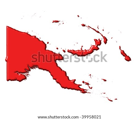 Papua New Guinea 3d map with national color