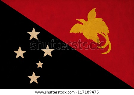 Papua New Guinea flag drawing ,grunge and retro flag series - stock photo