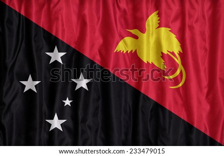 Papua New Guinea flag pattern on the fabric texture ,retro vintage style - stock photo