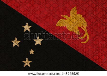 Papua New Guinea grunge canvas flag - stock photo