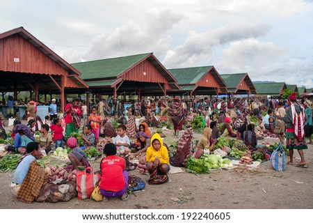 PAPUA PROVINCE, INDONESIA-JAN 03: Green vegetable displayed for sale at a local market in Wamena,on New Guinea Island, Indonesia on Jan 03, 2011.  - stock photo