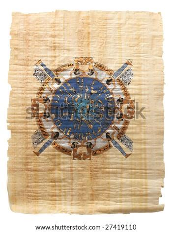 Papyrus. Ancient Egyptian calendar - stock photo