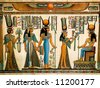 Papyrus showing Queen Nefertari making an offering to Isis. Copy of a painting from  Nefertaris tomb in Thebes. - stock vector