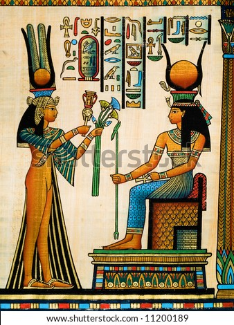 Papyrus showing Queen Nefertari making an offering to Isis. Copy of a painting from  Nefertaris tomb in Thebes.