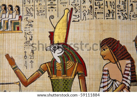 Papyrus with egyptian ancient images. - stock photo
