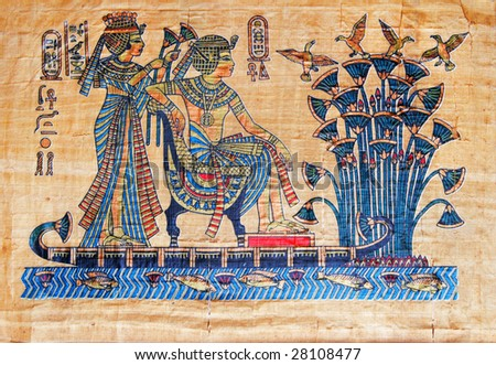 Papyrus with elements of egyptian ancient history - stock photo