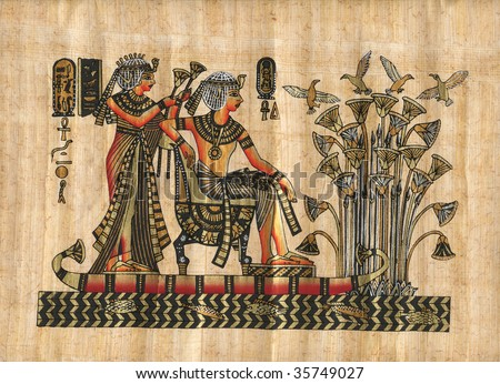 Papyrus with elements of egyptian history - stock photo