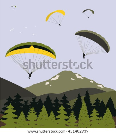 Para gliders over the mountains. - stock photo