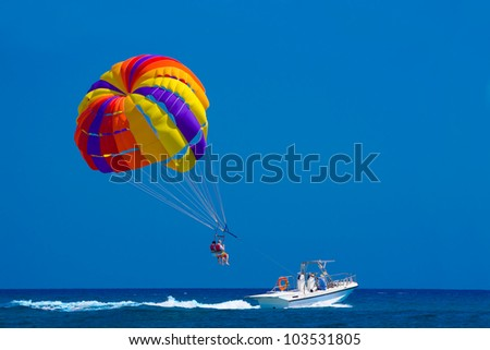 Para sailing off the coast in Kolymbia, Rhodes, Greece - stock photo