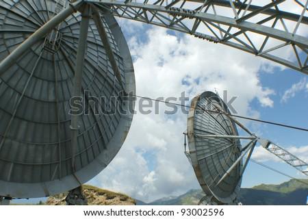 parabolas for data transmission - stock photo